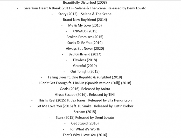 Unreleased selena gomez songs full list (Registered or known songs that never leaked).png